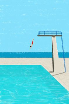 December 2014 ☞ Illustration ☞ is a freelance illustrator based in Freiburg, Germany. Minimal illustrations of solitary figures at the beach or by the swimming pool. Comics Illustration, Illustrations And Posters, Digital Illustration, Art Plage, City Poster, David Hockney, Grafik Design, Pop Art, Art Prints