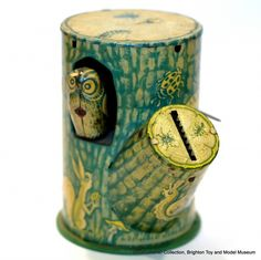 Tree Stump money box tin (with owl who pops in and out).