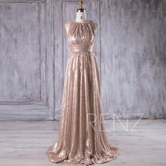 2016 Tan Ruched Bodice Bridesmaid Dress, Scoop Neck Sequin Wedding Dress, A Line Prom Dress, Luxury Ball Gown Floor Length (HQ353)
