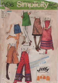 Simplicity 9516 1970s  Misses Gauchos Shorts Pants and by mbchills, $4.00
