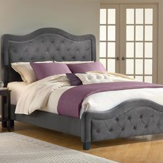 Gray tufted headboard and footboard platform bed frame LOVE it!