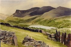 Llyn Nantlle Uchaf and Nantlle Ridge, an original watercolour painting by Rob Piercy