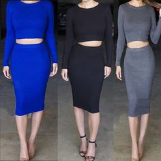 Find More Skirts Information about 2014 ladies woman woolen yarn knitting long sleeve crop top and high waist midi long pencil skirts clothing set blue black grey,High Quality Skirts from LIFE STORE on Aliexpress.com