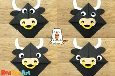How to make a Cow Corner Bookmark - Red Ted Art - Make crafting with kids easy & fun Origami Bookmark Corner, Corner Bookmarks, How To Make Bookmarks, Chinese New Year Crafts For Kids, Chinese Crafts, Art For Kids, New Year's Crafts, Book Crafts, Arts And Crafts