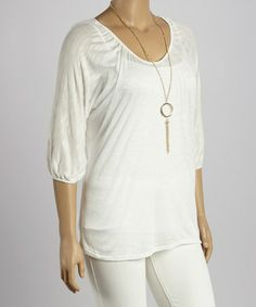 Look at this #zulilyfind! White Necklace Burnout Dolman Top - Plus by Freshmint #zulilyfinds