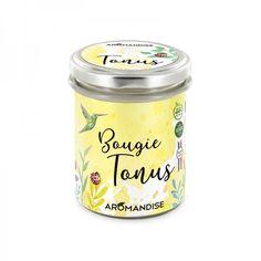 Bougie Tonus Bio & Vegan Aromandise Ravintsara, Bio, Coconut Oil, Mason Jars, Vegan, France, Products, Massage Oil, Lemon Grass