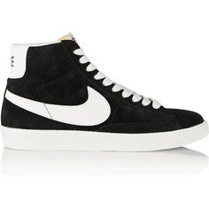 Nike Blazer perforated suede high-top sneakers ($105) ❤ liked on Polyvore featuring shoes, sneakers, black, flats, nike, lace up flats, black suede flats, black hi top sneakers, black flats и black high tops