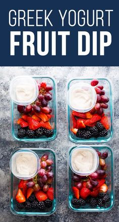 Healthy Greek Yogurt Fruit Dips are a delicious way to serve fruit, and also a great way to encourage you to eat more fruit. We love these yogurt dips as a meal prep snack. chocolate fruit dip, almond butter fruit dip, key lime fruit dip, gluten-free #sweetpeasandsaffron #mealprep #yogurt #fruit #fruitdip #glutenfree