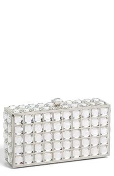 $158, White Embellished Clutch: Natasha Couture Box Clutch. Sold by Nordstrom. Click for more info: https://lookastic.com/women/shop_items/128846/redirect