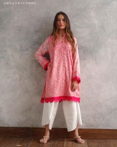Image may contain: 1 person, standing and text Pakistani Fashion Casual, Pakistani Dresses Casual, Pakistani Dress Design, Indian Fashion, Casual Dresses, Tunic Designs, Kurta Designs Women, Dress Neck Designs, Stylish Dresses For Girls