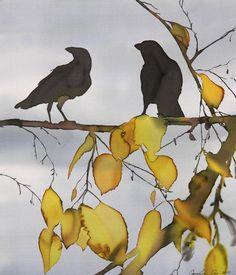 ARTFINDER: 2 Ravens in Yellow Birch Fine Art Print by Carolyn Doe - I enjoy watching ravens. I also enjoy the beauty of birch trees in autumn. So I combined the two on silk. This is a Fine Art Print of an original batik on . Crow Art, Raven Art, Bird Art, Flowers Wallpaper, Poster Photo, Art Watercolor, Batik Art, Crows Ravens, Silk Painting