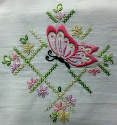 Baby Embroidery, Embroidery Flowers Pattern, Butterfly Embroidery, Hand Embroidery Stitches, Hand Embroidery Designs, Vintage Embroidery, Embroidery Techniques, Ribbon Embroidery, Flower Patterns