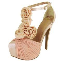 T-strap Pink Blush Chiffon Satin Stilettos