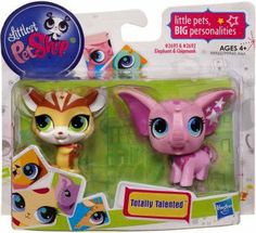 Littlest Pet Shop Totally Talented Pets Chipmunk Elephant by Hasbro. $7.99. Two pets mean twice the fun!. TOTALLY TALENTED pets can't wait to perform for you!. For ages 4 and up. Chipmunk and Elephant. This chipmunk and elephant are little pets with big personalities!. These little pets have stars in their eyes and they cant wait to show off how cute they are to you! Your adorable chipmunk and elephant pets have happy, cheerful faces and theyre ready for big fun a...