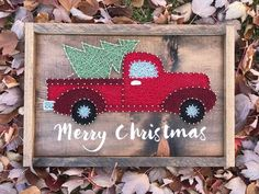 Items similar to Pine Tree String Art - Trees - Woods - Outdoors - New England - Landscape - Nature Lover - Woodsy - Wooden Tree Sign - Handmade - Aged Wood on Etsy Christmas Truck With Tree, Felt Christmas, Christmas Crafts, Christmas Ideas, Merry Christmas, Amanda Jones, Animal Art Projects, Easy Art Projects, Nail String Art