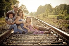 Train tracks family pic pose