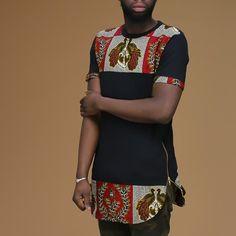 Unisex Afrination Ankara Longline T-Shirt - Afrination By Kofi Jr. Nigerian Men Fashion, African Print Fashion, Africa Fashion, African Fashion Dresses, African Attire, African Wear, African Dress, Fashion Prints, Fashion Outfits