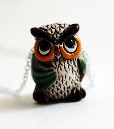 Owl Necklace Owl Jewelry Green Swarovski Crystals by Hendywood