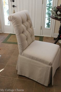 How to diamond tuft upholster a plain parsons chair