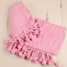Baby Pink Pom Pom Fringe Cotton Throw Blanket