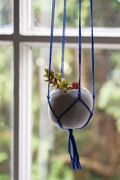 DIY planters and flower pots ideas modeling clay hanging planter