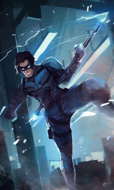 DC Heroes & Villains - Nightwing by Lap Pun Cheung on ArtStation Dc Comics Vs Marvel, Dc Comics Heroes, Dc Comics Characters, Dc Comics Art, Nightwing Wallpaper, Hq Dc, Univers Dc, Girls Anime, Manga Girl