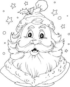 My coloring of santa head Christmas Coloring Pages, Coloring Book Pages, Printable Coloring Pages, Colouring Pics, Coloring Pages For Kids, Kids Coloring, Christmas Colors, Christmas Art, Santa Head
