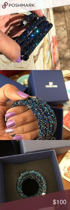 Swarovski CrystalDust Bangle Authentic/ Swarovski Crystaldust Bangle/ Blue/ it is very nice, bought it last week but i feel like its big for my very small wrist. (4.8x4.8cm)/ Swarovski Jewelry Bracelets