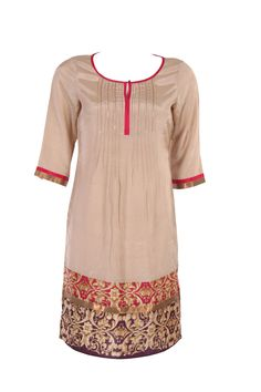Beige Solid Kurta In Shantung; Bottom Print Placement; Round Neck; Quarter Sleeve; Pleating Details; 38 Inches In Length #Wishful #Clothing #Fashion #Style #Kurta #Wear #Colors #Apparel #Semiformal #Print #Casuals #W for #Woman