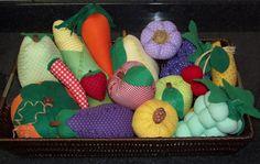 Eu Amo Artesanato: Frutas, legumes e temperinhos em tecido com moldes e passo a passo