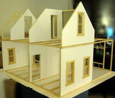 Stick Built Doll Houses | Mike's 1:12 Stick Built Hollow Wall Dollhouse