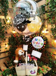 Happy Birthday Flowers Wishes, Happy Birthday Quotes, Candy Bouquet, Balloon Bouquet, Friend Birthday Gifts, Birthday Cards, Balloon Gift, Ideas Para Fiestas, Partys