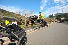 Travoy camping in Taiwan with folding bikes. Burley Trailer, Burley Travoy, Rio, Bike Trailer, Touring Bike, Taiwan, Backpacking, Baby Strollers, Cycling