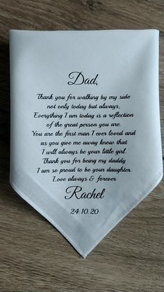 father of the bride gift wedding handkerchief personalized gift for dad from daughter father of the groom wedding hankies Fathers Day Wishes, Happy Father Day Quotes, Gifts For Father, Personalized Gifts For Dad, Personalized Wedding, Wedding Gifts For Parents, Gift For Parents, Wedding Handkerchief, Dad Poems