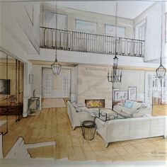 "Sketch by Magdalena Sobula ""interiorsketch Interior Design Renderings, Drawing Interior, Interior Rendering, Interior Sketch, Interior Paint, Interior Architecture, House Extensions, Living Room Interior, Furniture Design"