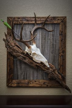 My first european deer mount. I made the frame from new wood that I distressed and stained. The back is made from old fence boards and I found a nice piece of drift wood and some old barbed wired to complete the look.
