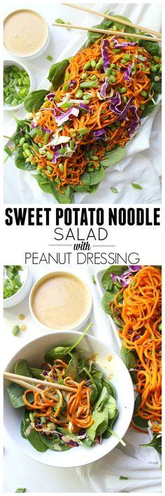 Sweet Potato Noodle Salad with Peanut Dressing | Vegan + GF | http://ThisSavoryVegan.com
