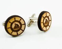 Ship & Helm Nautical Mens Cufflinks -Round Wooden Cuff Link Groomsmen Gift, Stocking Stuffer, Christmas Present on Etsy, $20.00