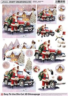 Craft Creations Die Cut Decoupage Santa`s Car