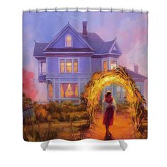 Lady in Waiting, home decor shower curtain from Steve Henderson Collections. Add a little lavender, gold, and seaside romance to the bath.