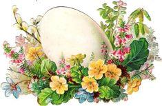 Oblaten Glanzbild scrap die cut chromo 9cm  Ostern easter  Ei egg Blume flower