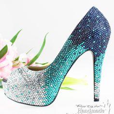 FREE SHIPPING handmade ladies fashion pumps crystal rhinestone teal wedding shoes peep toe $179.20
