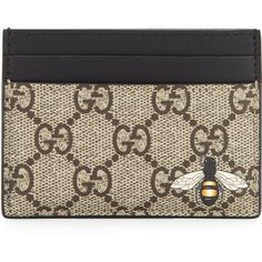 57d70060cf3e Gucci Bestiary Bee-Print GG Supreme Card Case ( 270) ❤ liked on Polyvore