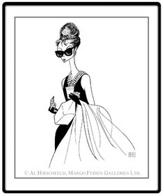 """""""Breakfast At Tiffany's, I""""  Audrey Hepburn:  Hand signed by Al Hirschfeld  Limited-Edition Lithograph  Edition Size: 175.  22"""" x 16"""""""