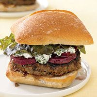 Goat Cheese Burgers with Beets - I made this today minus the beets and bread, served over a bed of greens.  Yummy!