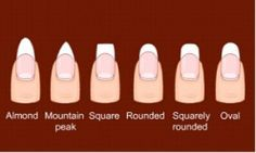 Different Nail Shapes. I prefer Almond, Rounded and Oval because they are the most feminine and elongating.
