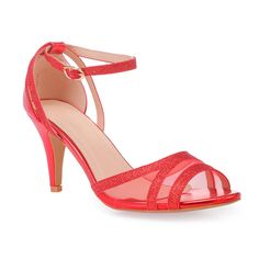Sandales plates rouges à brides bijoux femme pas cher la modeuse