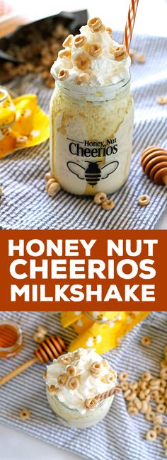 This honey nut Cheerios milkshake tastes just like a bowl of cereal and milk! | honeyandbirch.com