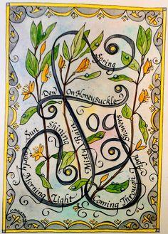 Calligraphy watercolor, Dew on Honeysuckle, 1999, V. Atkinson.