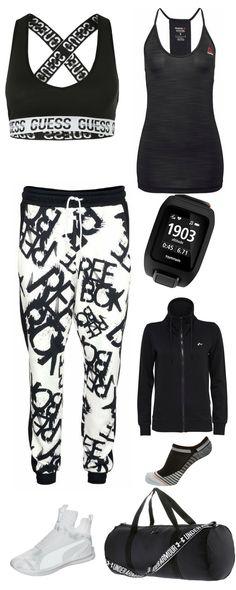 """Fitness Outfit für Frauen: """"Stop Wishing – Start Doing"""" Outfit im Back & White Look mit Sport-BH, weiter Sweat-Hose von Reebok, weiße Workout Schuhe, Fitness-Tasche, Hoodie und Fitness-Tracker + Füßlinge und Tanktop"""